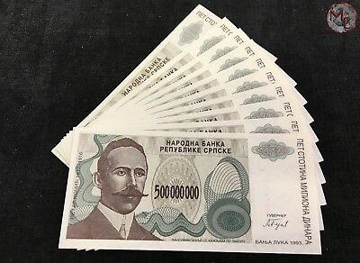 Bosnia and Herzegovina 500000000 Dinars 1993 -- 10 PCS UNC