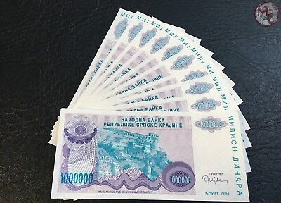 Croatia- Provincial issues- 1.000.000 Dinars 1994 !!-10 PCS  UNC RARE- low seria