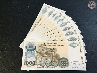 Croatia- Provincial issues- 1000 Dinars 1994 !!-10 PCS - UNC-  RARE- low serial