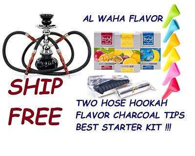 2 Hose Hookah Glass Water Pipe Vase With Charcoal Al Waha Flavor Flavour Tips