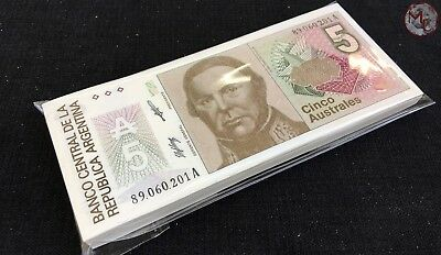 Argentina- 5 Australes ND( 1985-1991)- Pick- 324- Original bundle- 100 PCS UNC !