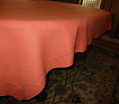 "Vtg-Tablecloth Rect Solid Tangerine Linen 82"" x 58"" Needle Stitch-6 Napkins Mint"
