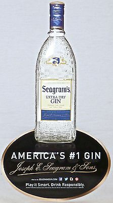 "New Stock Genuine Liquor Store Advertising 2014 SEAGRAM'S GIN 17"" x 9"" Sign"