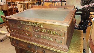 Antique Willimantic Spool Cabinet / Desk 4 Drawer With Top Desk