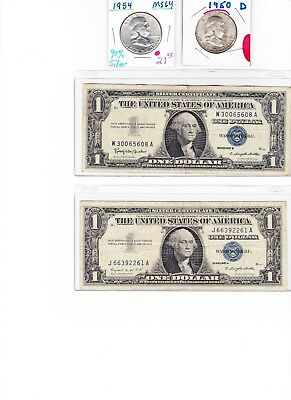 Franklin 90 % silver half dollar and 1957 $1 Silver Certificate Lot u get 1 each