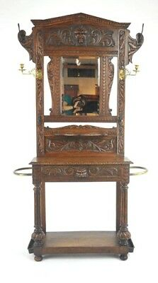 Entryway Organizer, Antique Hall Stand, Hall Tree, Carved Oak, Scotland, B1002