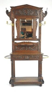Entryway Organizer, Antique Hall Stand, Hall Tree, Oak, Scotland, B1002 REDUCED!