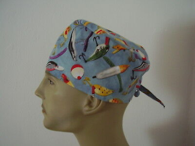 Surgical Scrub Cap/Hat - Fishing Tackle/Lures -Handmade- One size -Men Women