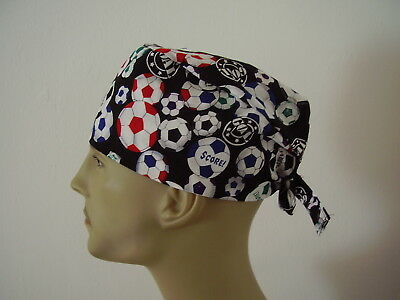Surgical Scrub Cap/Hat -Soccer Balls on Black-Handmade- One size -Men Women
