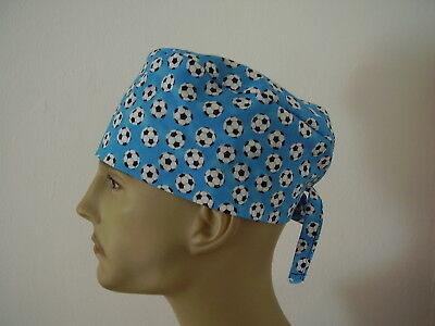 Surgical Scrub Cap/Hat - Soccer Balls on Blue One size -Men Women