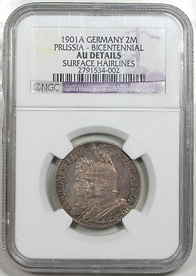 1901-A Germany: Prussia 2 Mark, Bicentennial, NGC AU details
