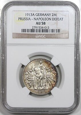 1913-A Germany: Prussia 2 Mark, Napoleon Defeat, NGC AU58, nicely toned