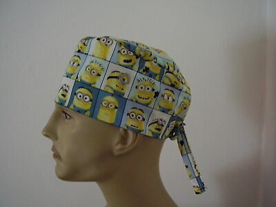 Surgical Scrub Cap/Hat -Minions in Blocks/Squares- Handmade- One size -Men Women