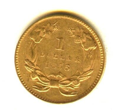 1856 $1 Gold Type 3 AU+++ In Grade Gold Type Coin 100% Orig No Cleaning
