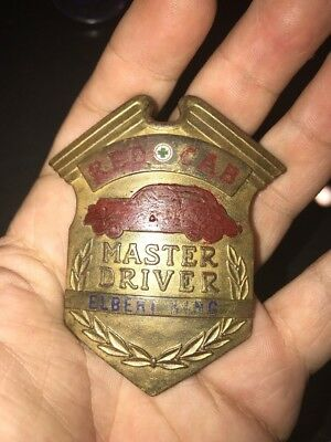 Vintage Red Cab Master Driver Badge Rare Gold Early 1900s