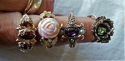 Lot of 4 Vintage Gold-tone Adjustable Size Rings Green Brown Coral Purple Avon