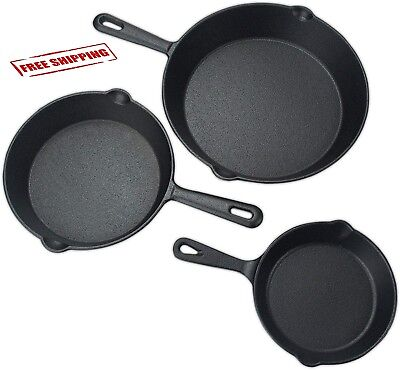 3 Pcs Set Pre-seasoned Cast Iron Skillet Stove Oven Fry Pans Pots Cookware Pan