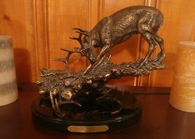 "Ducks Unlimited Bronze Whitetail Deer Buck Statue 398/3500 ""Dont Tread on Me"""