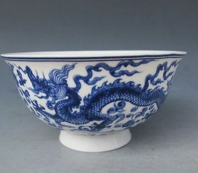 Chinese Old porcelain Hand Painted Dragon Bowl w Qing Dynasty Qianlong Mark
