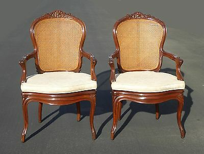 Pair Vintage French Provincial Country Style Cane Back White Accent ARM CHAIRS