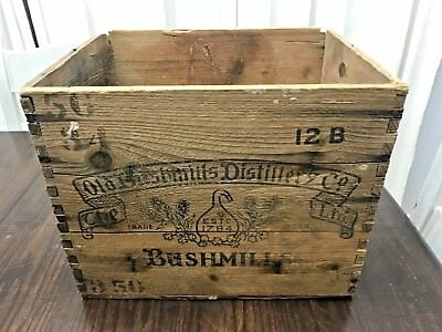Antique Old Bushmills Distillery Co Irish Whiskey Dovetail Wood Shipping Crate