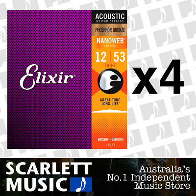 4x Elixir 16052 Nanoweb Phosphor Bronze Light 12-53 Acoustic Guitar Strings