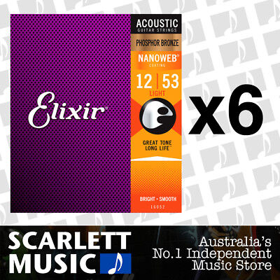 6x Elixir 16052 Nanoweb Phosphor Bronze Light 12-53 Acoustic Guitar Strings