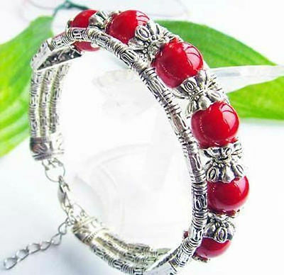 Beautiful Tibet Silver Tibet Red Coral Beads Bracelet 10mm