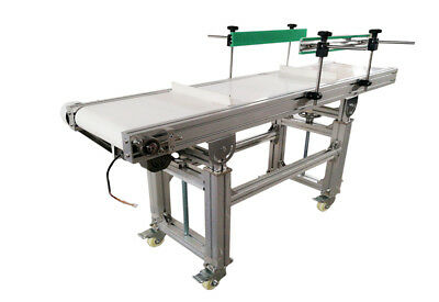 """110V Electric 59"""" White PVC Conveyor Machine With 1.57"""" Height Baffles New Item"""