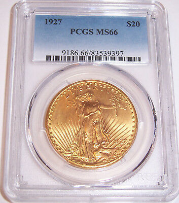 1927 $20 St Gaudens PCGS MS66 Uncirculated GEM Philadelphia Gold Double Eagle!!