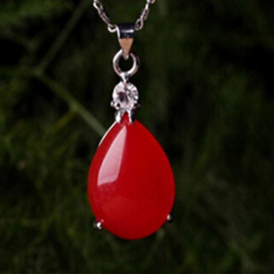 China handcarved red jade Water drop shape Pendant necklace
