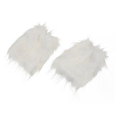 White Fluffies Fluffy Furry Leg Warmers Boots Covers Rave Furries N2D3