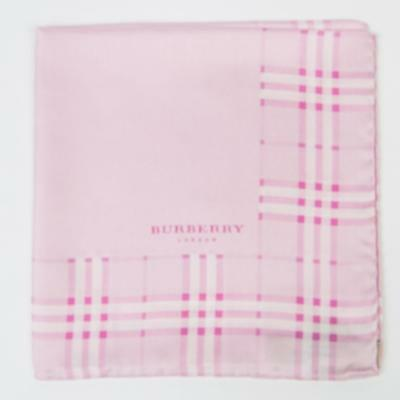 """Burberry London New $115 Pink White Plaid Silk Pocket Square 12"""" Hand Stitched"""