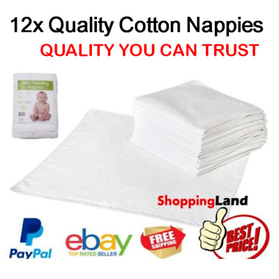 Cloth Cotton Nappies Terry Towelling Nappy Infant Newborn Reuseable Soft 12 PACK