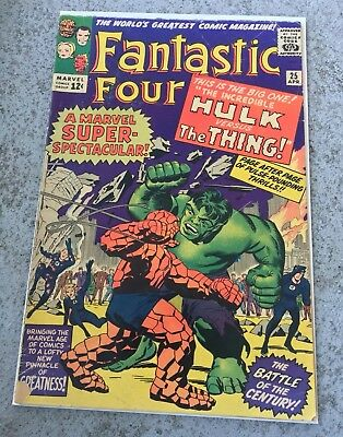 Fantastic Four #25 (1963) 1st Hulk vs Thing! 4.0 OW/W   Unrestored/Complete