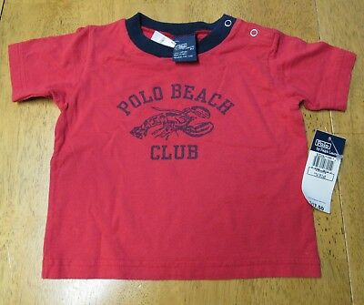 NWT POLO by RALPH LAUREN RED & NAVY Lobster Polo Beach Club Infant 9 mo SHIRT
