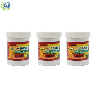 3x Dental Prophy Paste Fluoride for Prophylaxis Medium Grit Cherry Flavor 340g
