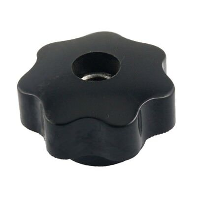 M10 10mm Dia Thread Black Plastic Star Head Clamping Knob Grip T2R3