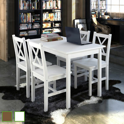 5 Pcs Wooden Kitchen Dinning Table with 4 Wooden Chairs Breakfas Furniture Set