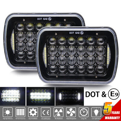 "DOT E9 7x6"" 85W LED Light Bulbs Clear Sealed Hi/Lo Beam Crystal Headlight"