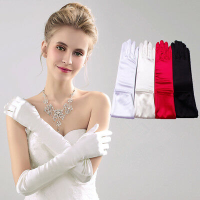 Fashion Long Satin Gloves Opera Wedding Bridal Evening Party Prom Costume Gloves