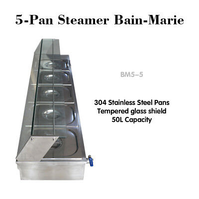 220V 5-Pan Steamer Bain-Marie Buffet Countertop Speisenwärmer Steam Table 1500W