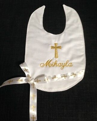 New Bib - Embroidered For Christenings/ Baptism Or Naming Days