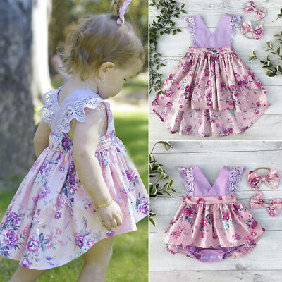 AU Newborn Baby Kids Girl Dress Matching Clothes Romper Jumpsuit Bodysuit Outfit