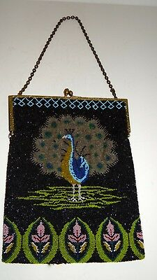 GORGEOUS Antique Art Deco Mission Era Peacock Beaded Purse EXCELLENT 9x7""