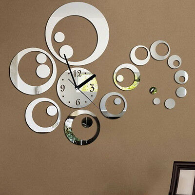 3D Mirror Effect Silver Acrylic Wall Stickers Watch Clock Circle Home Decor HOT