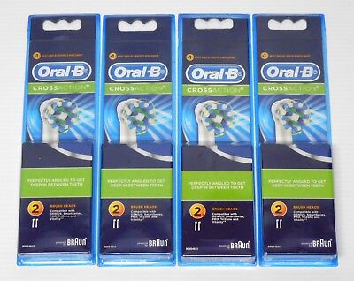 4 x 2PACK ORAL B CROSS ACTION BRAUN NEW ORAL-B TOOTHBRUSH HEADS AUTHENTIC