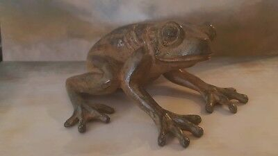 Super French Solid Bronze Sculpture Of A Frog (Grenouille) Signed P Chenet ~N/R!