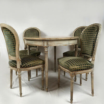 Table and four chairs style Louis XVI wood lacquered grey
