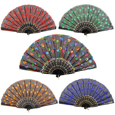 Chinese Flower Lace Silk Folding Sequin Hand Held Fan Wedding Dancing Party Prom